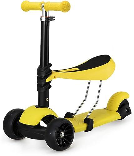 LIWORD Le Scooter des Enfants avec Les Pneus De Flash Peut Soulever Et Abaisser Les Pédales, Peut être Poussé, Peut Rouler, Peut Glisser, Tricycle,jaune