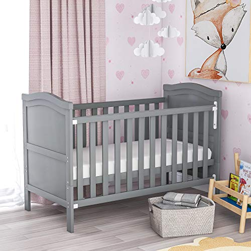 Solid Wooden Baby Cot Bed Toddler Junior Bed with Foam Mattress, Single-Handed Dropside, Teething Rails and Safety Barrier (Grey)