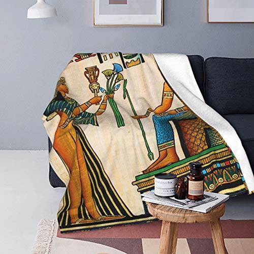 Felpa Manta de Tiro para Todas Las Estaciones Suave Ligero,Papiro Egipcio Antiguo Que representa a la Reina Nefertari con un Imperio histórico,Manta de Cama Edredón de Viaje para Sofá Cama,60' X 80'