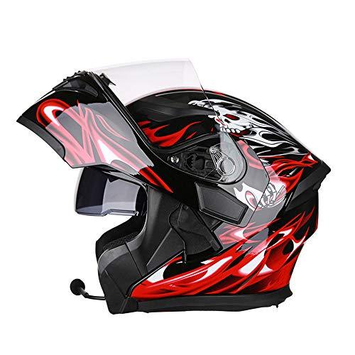 WMING Modulares Motorrad Helme Bluetooth Headset DOT Flip Up Touring Helme ausgestattet Dual-Speaker mit Mikrofon für automatische Antwort, geeignet für Straßenrennen, Off-Road,D,XXXL