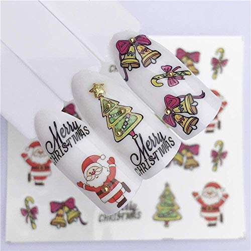 SRTYH Autocollant d'ongle Nail Art Nail Stickers Year Slider Tattoo Christmas Water Decal Snowman Designs Decals Make nails more beautiful-B
