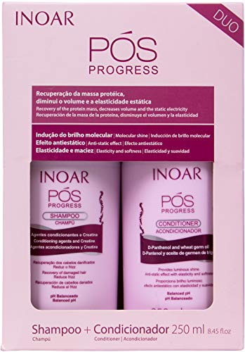 INOAR PROFESSIONAL - POS Progress Shampoo & Conditioner - 2 Step Kit Designed to be Used Between Keratin Treatments to Prolong Their Effectiveness (8.45 Ounces / 250 Milliliters)
