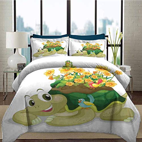 Duvet Cover Set Reptile College Bedding Sets Funny Floral Turtle Talking with Colorful Humming Birds Tortoise Ninja Home Decoration Decorative 3 Piece Bedding Set with 2 Pillow Shams, Full Size