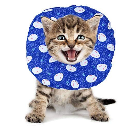BVAGSS Haustier Halsband Einstellbarer schützender Rutschfester Baumwollring Protective E-Collar für Katze und Hund XH004 (S, Blue Rabbit)