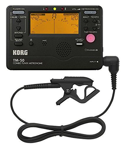 KORG TM-50C - Accordatore cromatico con metronomo e microfono a contatto, colore nero
