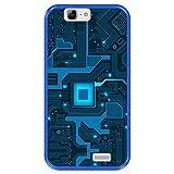 Funda Azul para [ Huawei Ascend G7 ] diseño [ Placa de Circuito eléctrico ] Carcasa Silicona Flexible TPU