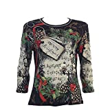 Jess & Jane Season's Melody Christmas Holiday Top In Black