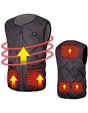 Eléctrico Chaleco Calentado con 3 de Temperatura Ajustable, Chaqueta Térmica con Inserto de Carga USB, Unisexo Chaleco Cálido de Invierno para Actividades Frías al Aire Libre, Esquí, Pesca, Caza…