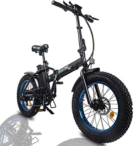 """ECOTRIC Foldable Fat Tire Powerful Bike 48V 13AH Li-ion Battery 500W Motor 20"""" x4.0 inch Fat Tire Aluminum Frame Electric Mountain Beach Snow Electric Ebike Bicycle (Gift Rear Rack)"""