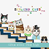 YFKSLAY Cartoon Animal Children's Room Wall Stickers Bedroom Kindergarten Stairs Wall Decoration Environment Layout Materials Stickers Classroom-9 Six Little Cute (New Imposition) 大
