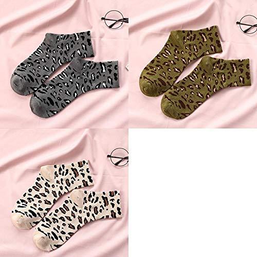 JINGYINYI Mid kousen, dames, luipaardprints, sokken, katoenen sokken, straat, donkergrijs, volwassenen, voetbalschoenen, warm, lang, drie paren@A5