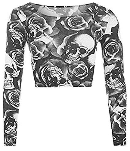 WearAll Langarm-T-Shirt für Damen, kurz, Rundhalsausschnitt, Gr. S/M Gr. 34-36, Totenkopf- und Rosenmuster