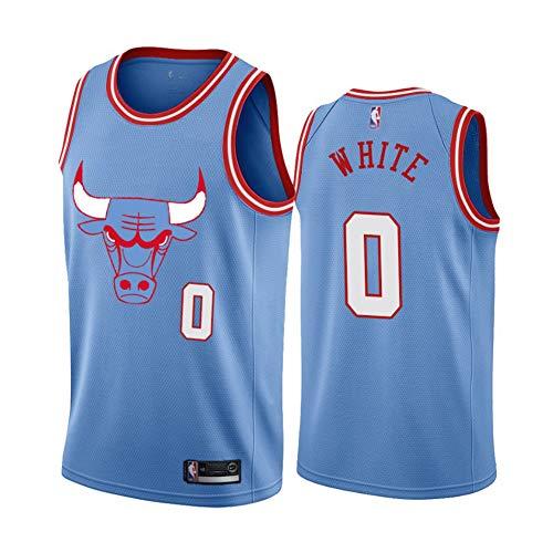 Coby White Basketballtrikot, Bulls NO.0 Basketball Shirt Weste Top Sommershorts für Jungen und Mädchen-Blue-S(165.173CM)