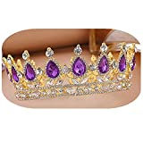 Bridal Crown Crystal Pearls and Rhinestones for Wedding Bridesmaid Tiara Women Birthday Hair Accessories Gift (Gold+Purple)