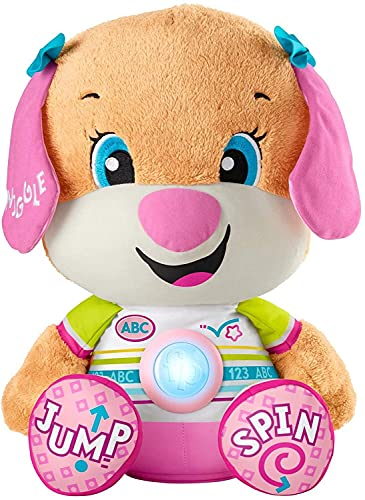 Fisher-Price Laugh & Learn So Big Sis, Large Musical Plush Puppy Toy with Learning Content for Infants and Toddlers