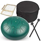 GUNAI Tamburo in Acciaio a 10 Pollici Tamburo a Mano Hand pan Strumento a Percussione con Drum Mallets Carry Bag Note Sticks per Meditazione Yoga Zazen Sound Healing
