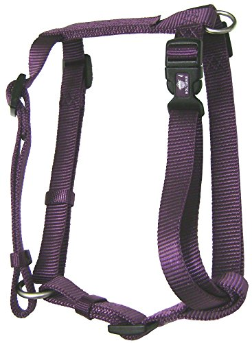 Hamilton B CFA LGPM Adjustable Comfort Dog Harness Fits Chest Size 30 to 40-Inch with Brushed Hardware Ring, Large, Plum