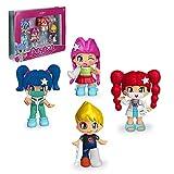 Pinypon - Pack de 4 Figuras de Hospital, set de diferentes muñecas Pinypon, doctora, enfermera, 2...
