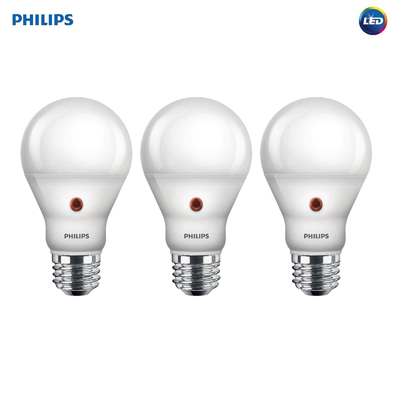 Philips LED Dusk-to-Dawn A19 Frosted Light Bulb: 800-Lumen, 2700-Kelvin, 8-Watt (60-Watt Equivalent), E26 Medium Screw Base, Soft White, 3-Pack