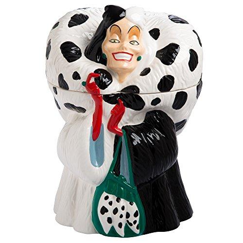 Vandor Disney Cruella De Vil Sculpted Ceramic Cookie Jar Canister, 6.8 x 10.8 x 6.5 Inches