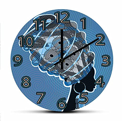 30 cm Reloj de Pared Turbante Tradicional Mujer Africana Obra de Arte Dormitorio Reloj de Pared Relojes Kente Head Wrap African Afro Lady decoración del hogar Reloj de Pared