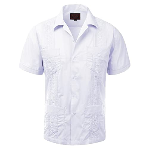65a38cad7860d vkwear Guayabera Men's Cuban Beach Wedding Short Sleeve Button-up Casual  Dress Shirt