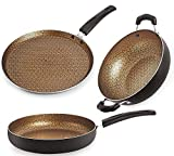 Nirlon Majesty Nonstick Coated Heat Resistance Pfoa Free Aluminium Cookware Utencil 3 Pieces