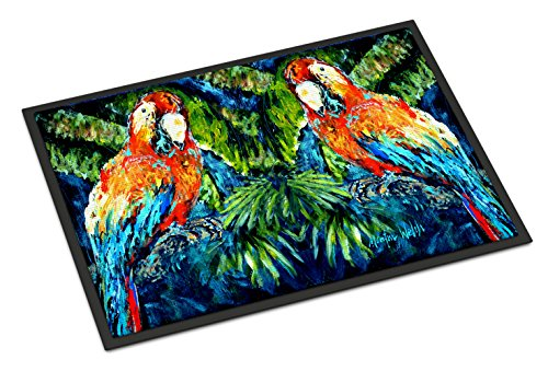 Caroline's Treasures MW1216JMAT Parrots Yo Yo Mama Indoor or Outdoor Mat 24x36, 24H X 36W, Multicolor