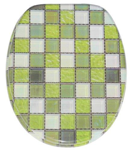 WC Sitz mit Absenkautomatik, hochwertige Oberfläche, einfache Montage, stabile Scharniere, Mosaik Grün