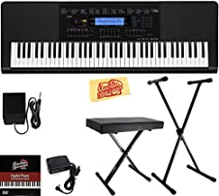 Casio WK-245 Workstation Keyboard Bundle with Adjustable Stand, Bench, Sustain Pedal, Power Supply, Austin Bazaar Instructional DVD, and Polishing Cloth