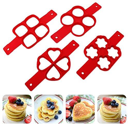 pancake Stampi in Silicone,Antiaderente Uova Stampi Pancake,Mould Cake Maker Egg anello, Fantastic Fast & modo semplice perfetto Pancakes (forma rotonda e fiore 2 pezzi)