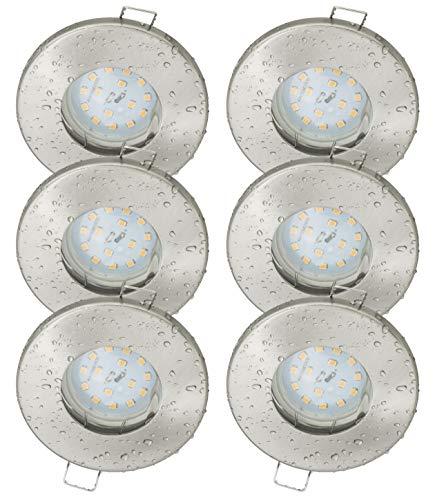 6er Set Bad Einbaustrahler IP65 5Watt LED Leuchtmittel Warmweiss 430Lumen 120Grad Abstrahlwinkel Strahlwassergeschützt 220Volt Leuchtmittel Austauschbar