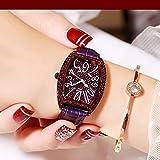 Orologi Polso Pieno Guardare Diamante Rhinestone della Quarzo Cronografo Grande manopola Macro Carattere Ladies Watch Belt Impermeabile Cronometro (Color : B)