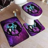 3-Pack Bath Mat Set Jack and Sally Nightmare Before Christmas Non Slip Bathroom Rug Set, U-Shaped Contour Mat and Lid Cover