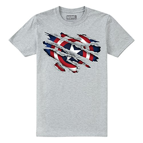 Marvel Captain America Torn Camiseta, Gris (Grey Heather SPO), 11-12 años para Niños