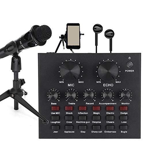 Tarjeta de sonido en vivo externa portátil, juego de tarjetas de sonido para computadora Micrófono de aleación de zinc Karaoke Computadora móvil en vivo con 12 tipos de efectos de sonido para disposit