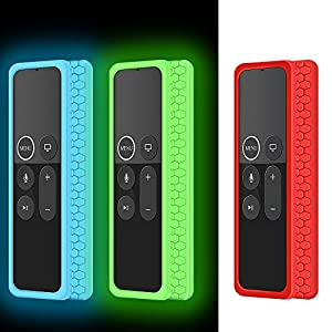 3 Pack Silicone Protective Case for Apple TV 4K 5th, 4th Gen Remote,Remote Case Holder Skin for Apple TV Siri Remote Control,Shock Absorption Bumper Remote Battery Back Covers-Glowgreen,Glowblue,Red