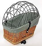 Tigana - Hundefahrradkorb für Gepäckträger aus Weide Natur 56 x 36 cm mit Metallgitter Tierkorb Hinterradkorb Hundekorb für Fahrrad (N-S)