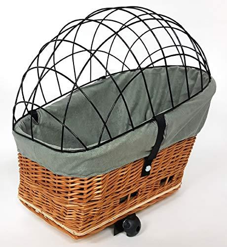 Tigana - Hundefahrradkorb für Gepäckträger aus Weide Natur 56 x 36 cm mit Metallgitter Tierkorb Hinterradkorb Hundekorb für Fahrrad (N-S) (XL + Kissen + Einlage G1)