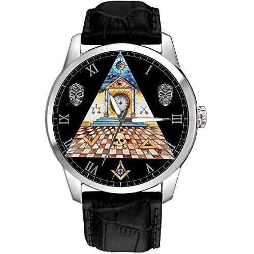 Reloj de pulsera con diseño de triángulo masónico a cuadros, arte original