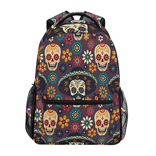 QMIN Sac à dos mexicain avec motif tête de mort et fleurs - Pour l'école, le voyage, le collège, le bureau, la randonnée, le camping - Pour garçons, filles, femmes et hommes