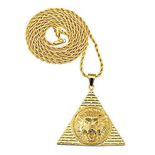 Collar De Cabeza De León Titanio De Acero Pirámide Cabeza De León Colgante Collar Joyería Hiphop
