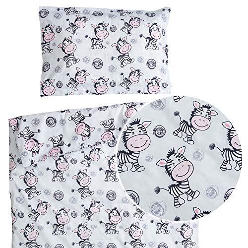 Zebra – PatiChou 100 % bomullssäng/spjälsäng set (påslakan & kuddfodral) 80 x 120 cm Flerfärgad