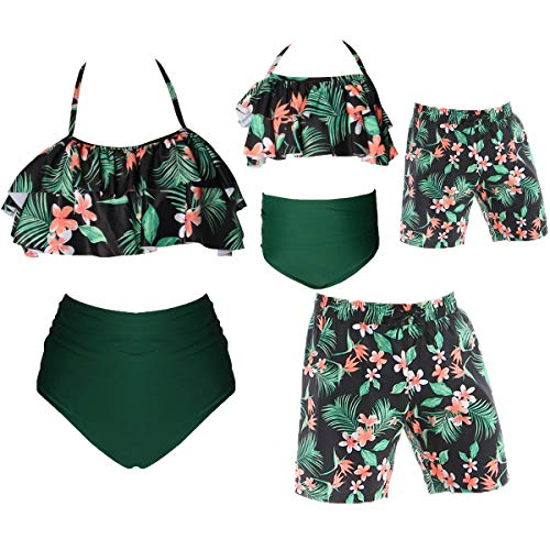 Family Matching Swimsuits Toddler Little Boys Floral Leaf Print Swim Trunks Quick Dry Beach Shorts Mommy Daddy and Me Swimwear Bathing Suit Boy 3-4T