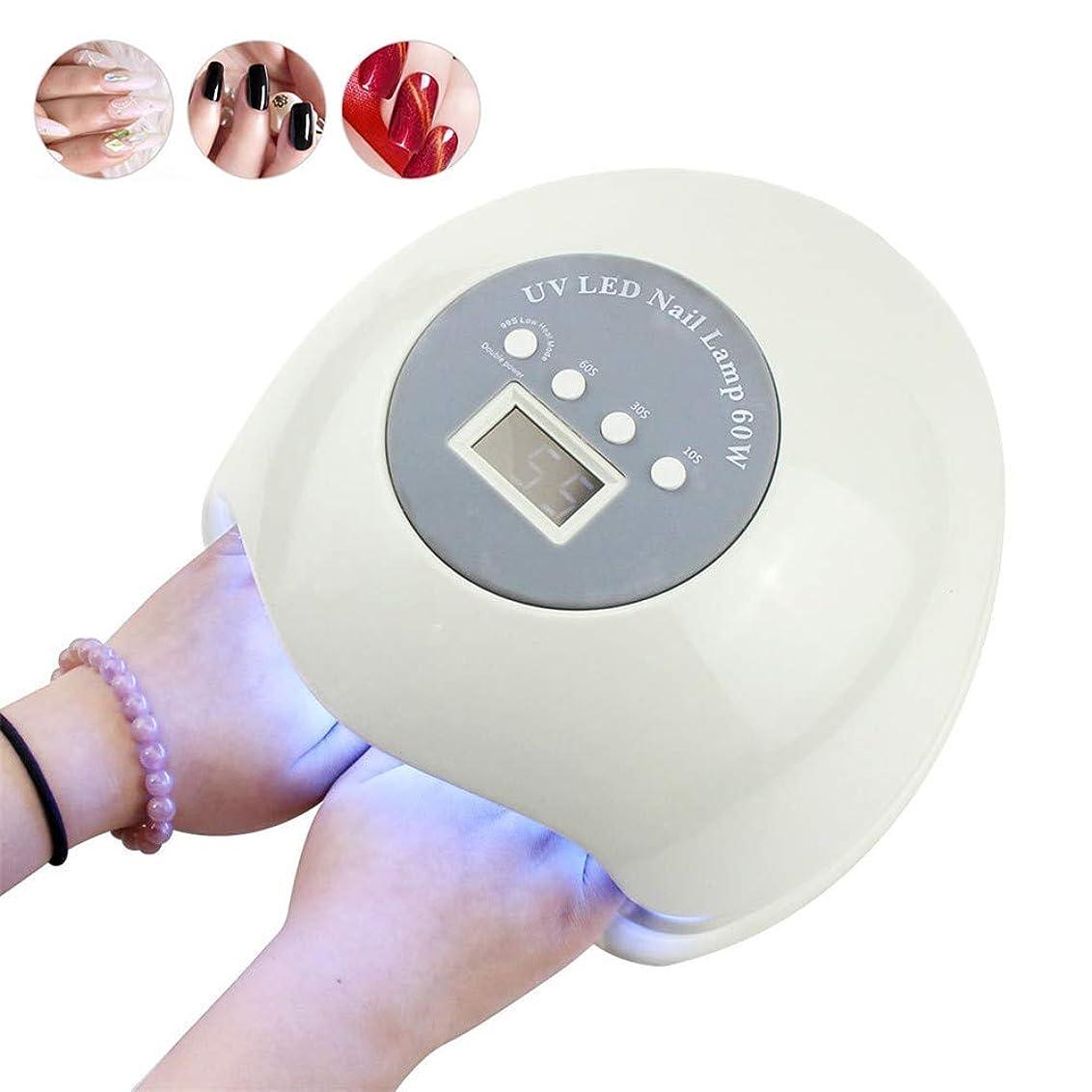 召集する激怒ピクニックLedネイルライト60ワットネイルドライヤー硬化uvジェルニスマニキュア乾燥光線療法機で液晶タイマーディスプレイ