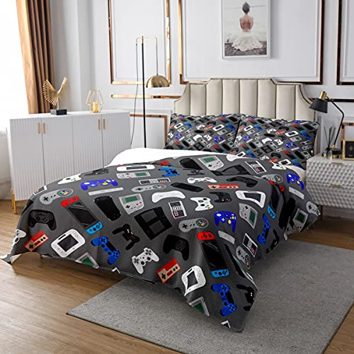 Video Games Bedspread Gamer Gamepad Bedding Set Colorful Controller Gaming Theme Coverlet Set with Pillowcase for Boys Man Home Bedroom Living Room,King