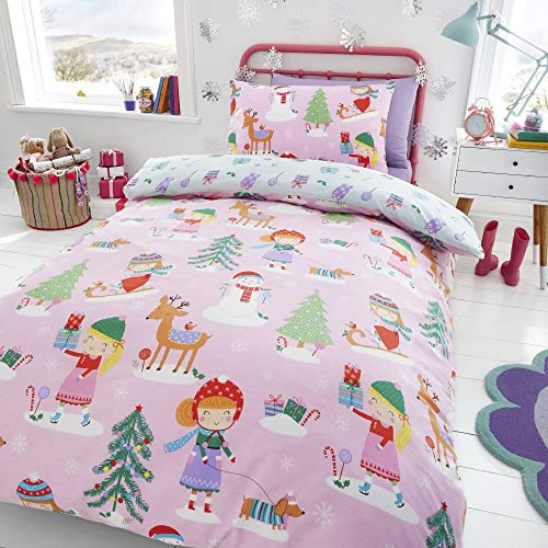 Happy Linen Company Kids Girls Festive Christmas Tree Ice Skating Sausage Dog Pink Toddler Reversible Duvet Cover Bedding Set