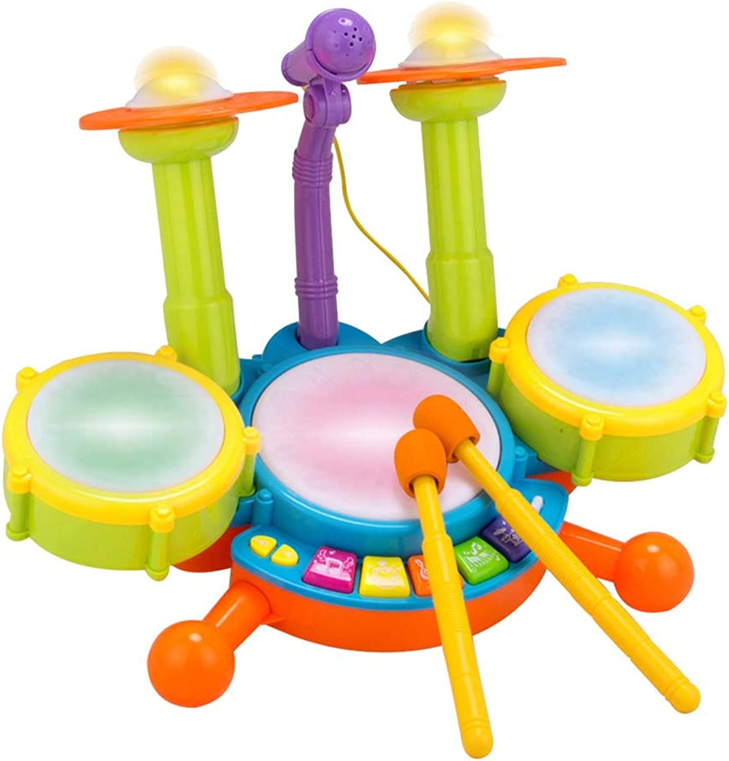 YeahiBaby Kids Electronic Drum Set Beats Flash Light Toy with Adjustable Microphone