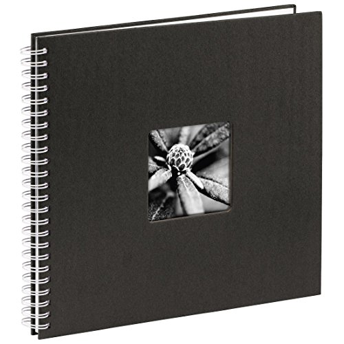 Hama Jumbo Fotoalbum, 36 x 32 cm, 50 weiße Seiten, 25 Blatt, mit Ausschnitt für Bildeinschub, Fotobuch schwarz