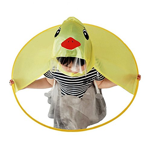 Koolsants Children's Rain Coat Foldable Cute UFO Shaped Little Yellow Duck Umbrella Hat Unisex Toddler Magical Hands Free Raincoat
